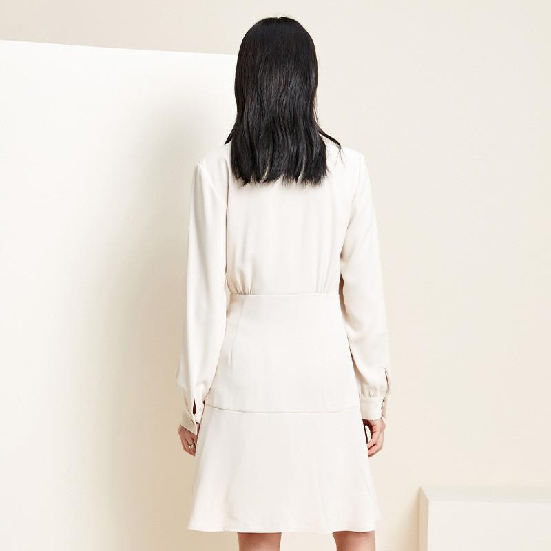金苑职业西装雪纺连衣裙收腰2020新款春气质赫本风连衣裙G20110210