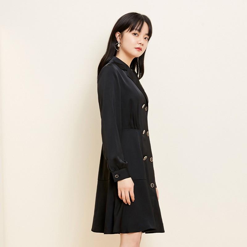金苑职业西装雪纺连衣裙收腰2020新款春气质赫本风连衣裙G2011023