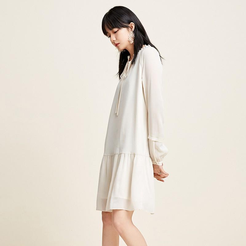 金苑雪纺连衣裙韩版显瘦春装2020新款女长袖气质中长裙女G20110510