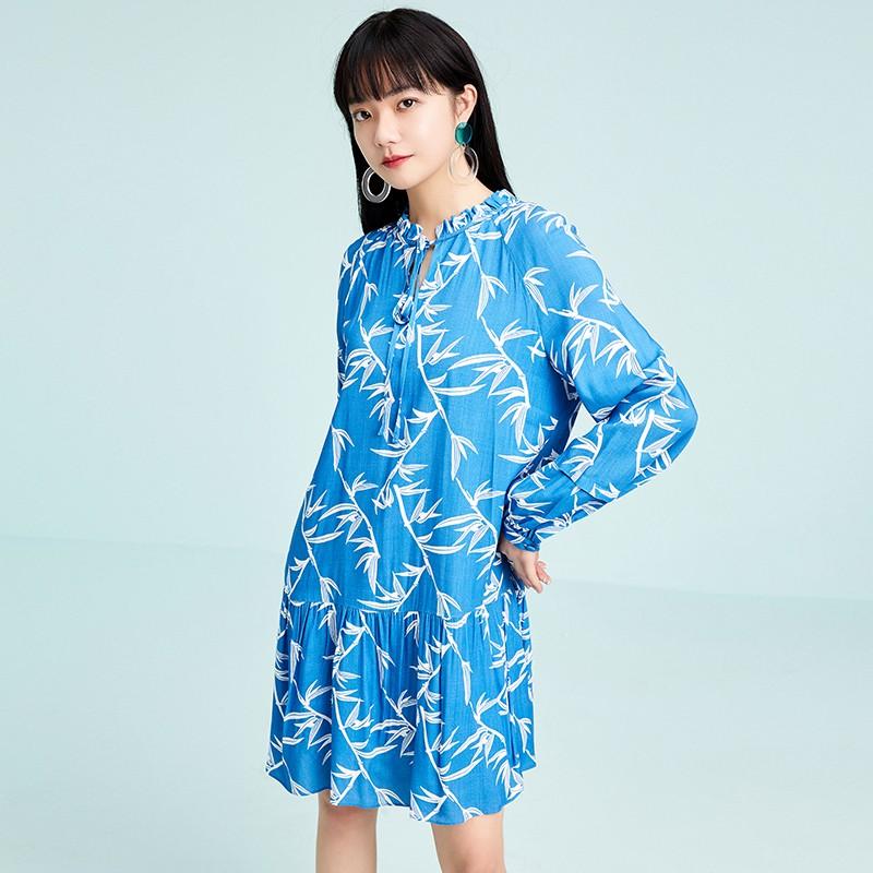 金苑雪纺连衣裙韩版显瘦春装2020新款女长袖气质中长裙女G2011052