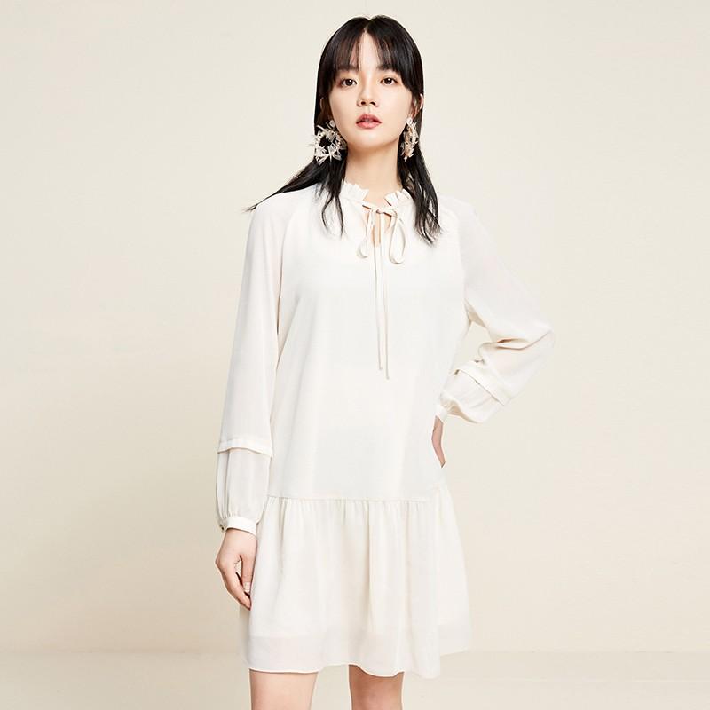 金苑雪纺连衣裙韩版显瘦春装2020新款女长袖气质中长裙女G2011058