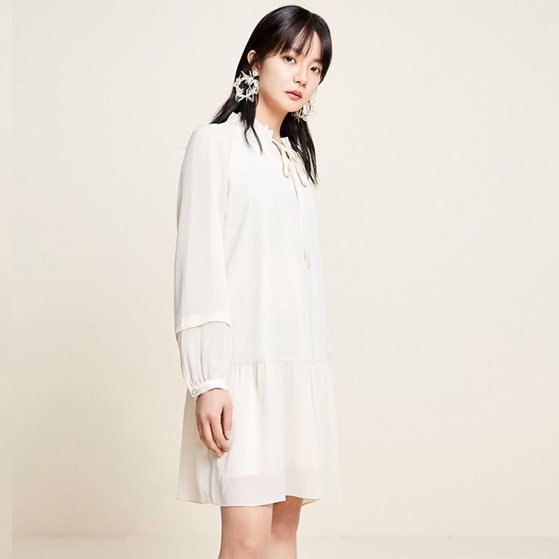 金苑雪纺连衣裙韩版显瘦春装2020新款女长袖气质中长裙女G2011059