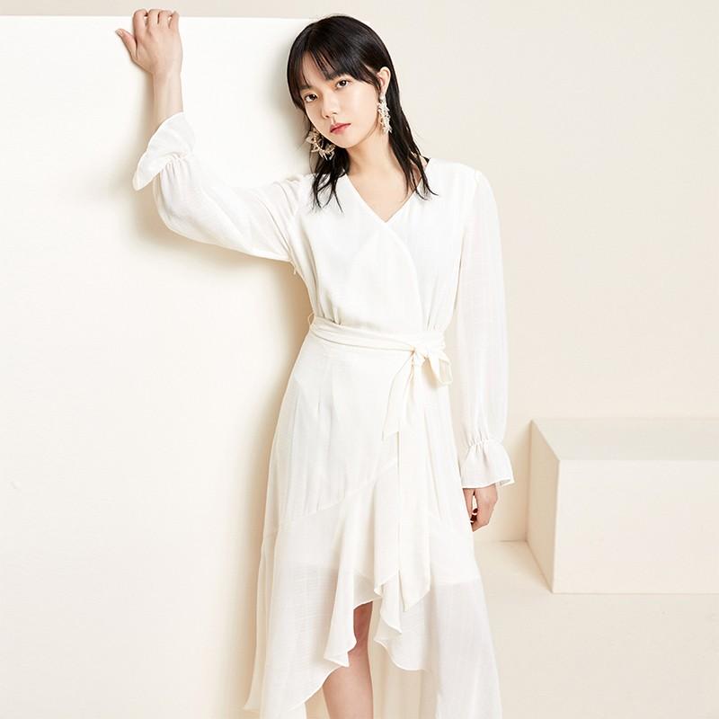 金苑淑女中长款连衣裙气质修身不规则裙子2020年春季新款G2011072