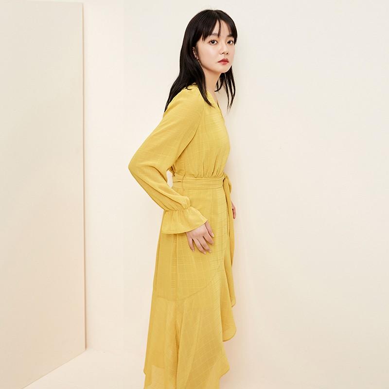 金苑淑女中长款连衣裙气质修身不规则裙子2020年春季新款G2011079
