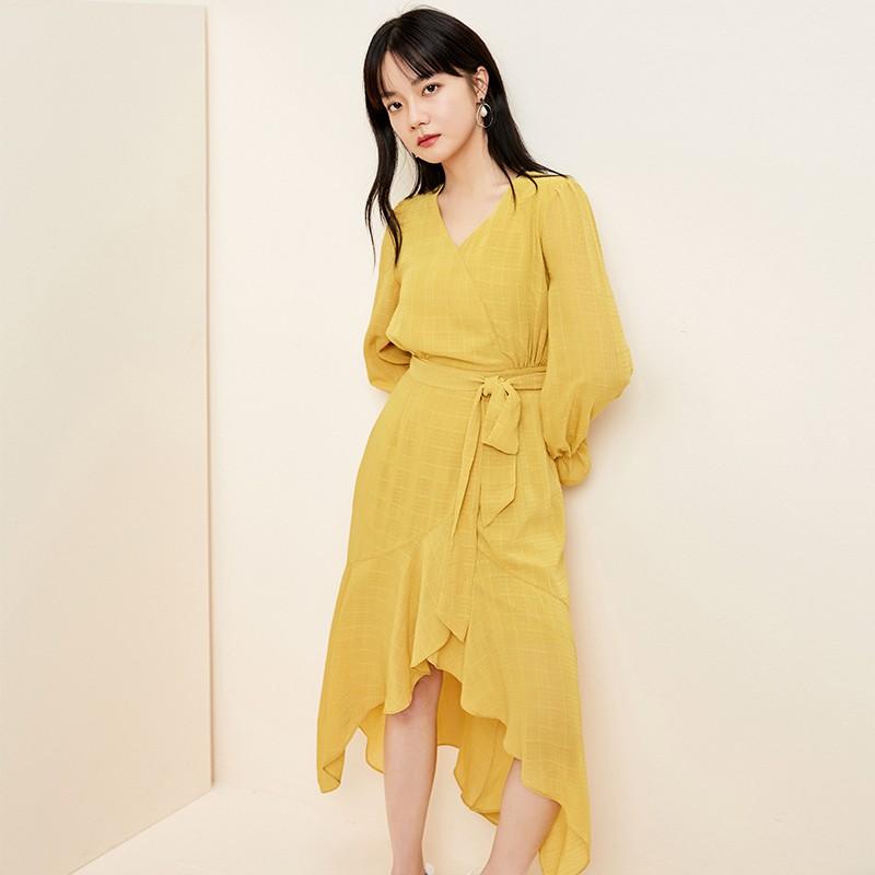 金苑淑女中长款连衣裙气质修身不规则裙子2020年春季新款G2011078