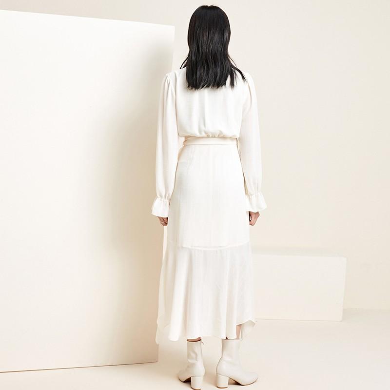 金苑淑女中长款连衣裙气质修身不规则裙子2020年春季新款G2011075