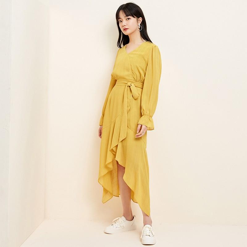 金苑淑女中长款连衣裙气质修身不规则裙子2020年春季新款G20110710