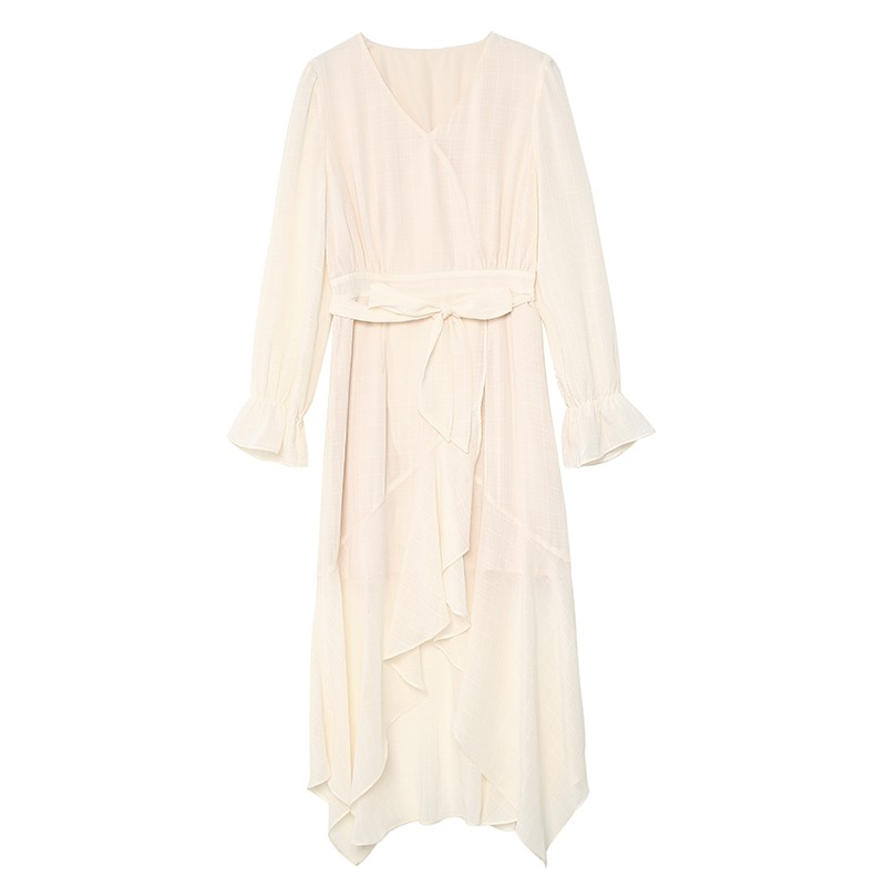 金苑淑女中长款连衣裙气质修身不规则裙子2020年春季新款G2011076