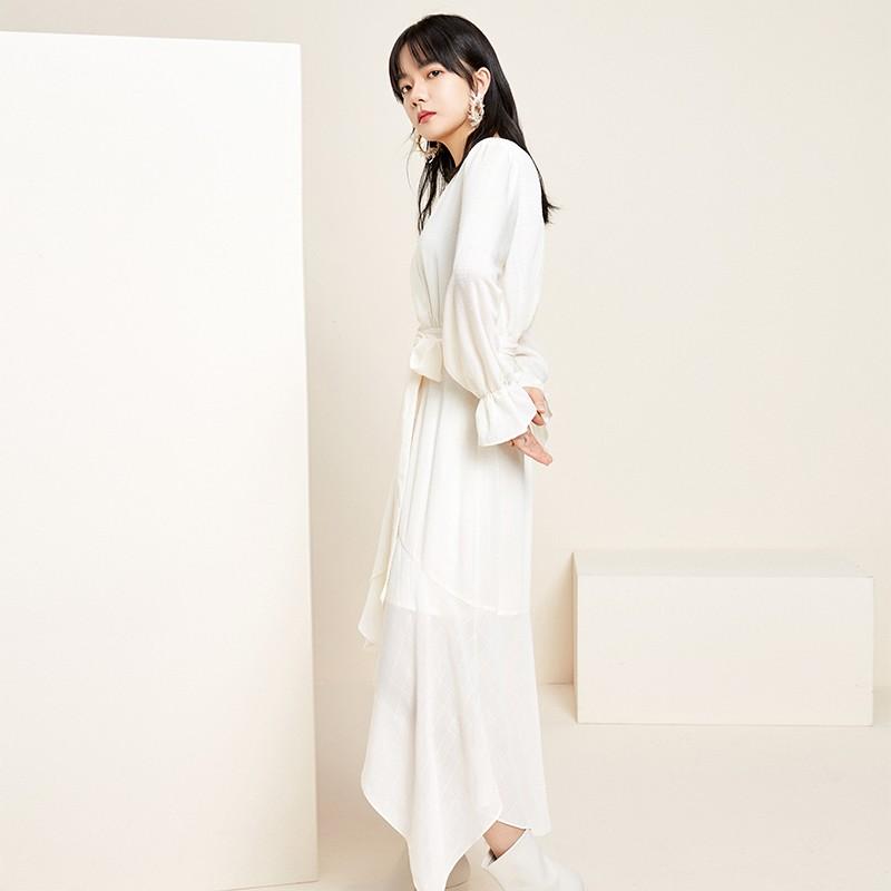 金苑淑女中长款连衣裙气质修身不规则裙子2020年春季新款G2011074