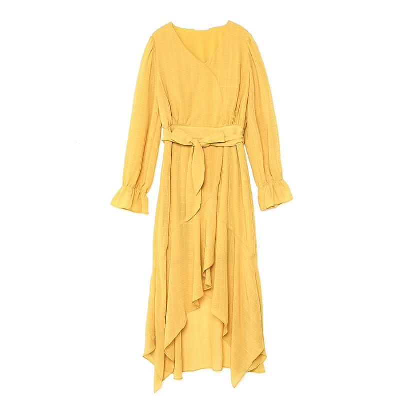 金苑淑女中长款连衣裙气质修身不规则裙子2020年春季新款G20110712