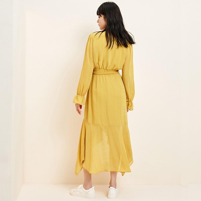 金苑淑女中长款连衣裙气质修身不规则裙子2020年春季新款G20110711
