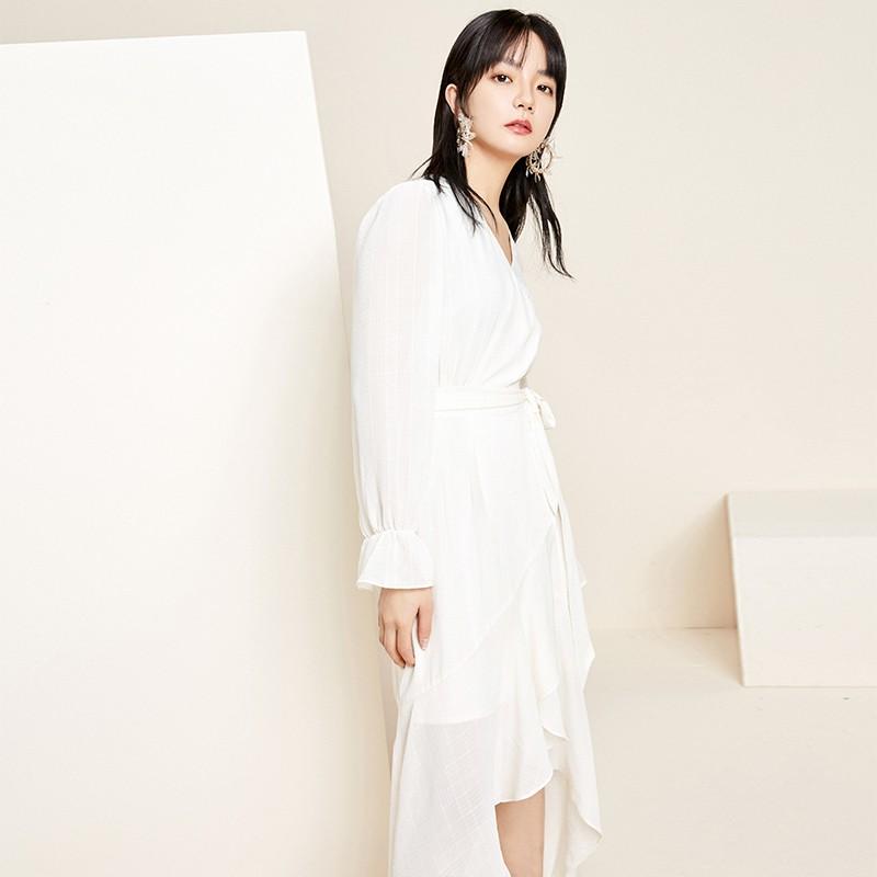 金苑淑女中长款连衣裙气质修身不规则裙子2020年春季新款G2011073