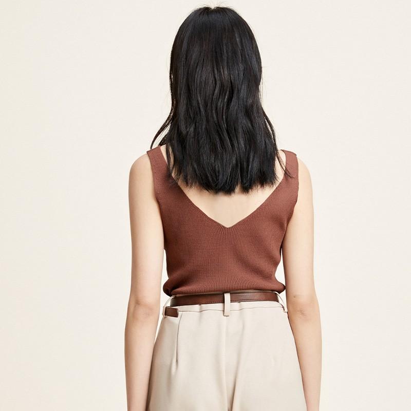 金苑修身显瘦无袖针织背心百搭V领打底衫2020春季新款女装H20110210