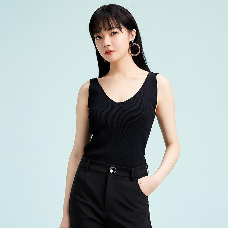 金苑修身显瘦无袖针织背心百搭V领打底衫2020春季新款女装H2011023