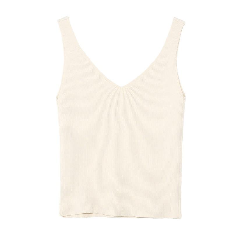 金苑修身显瘦无袖针织背心百搭V领打底衫2020春季新款女装H20110217