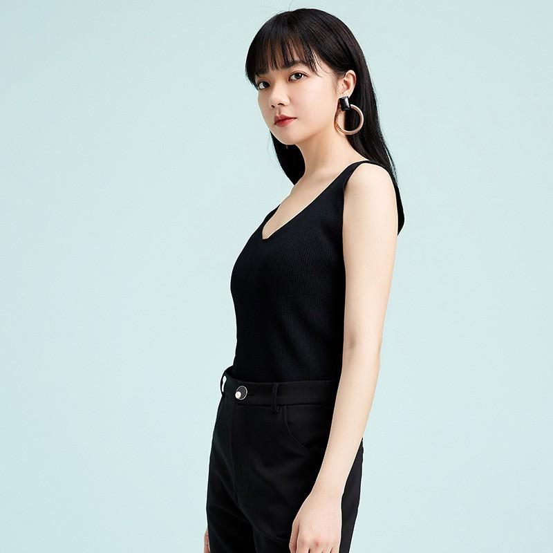 金苑修身显瘦无袖针织背心百搭V领打底衫2020春季新款女装H2011026