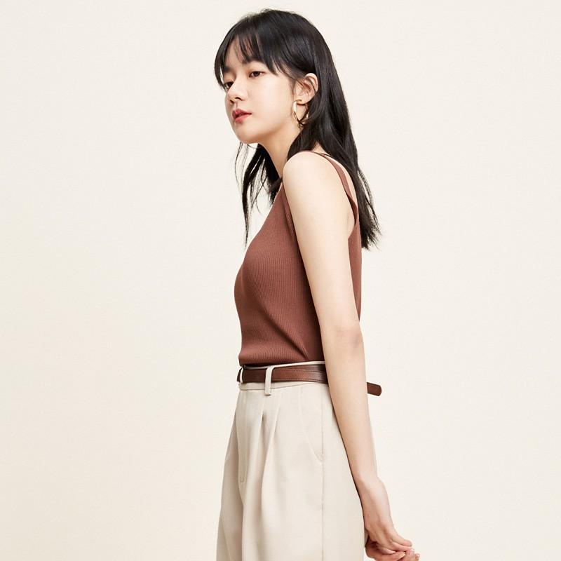 金苑修身显瘦无袖针织背心百搭V领打底衫2020春季新款女装H2011028