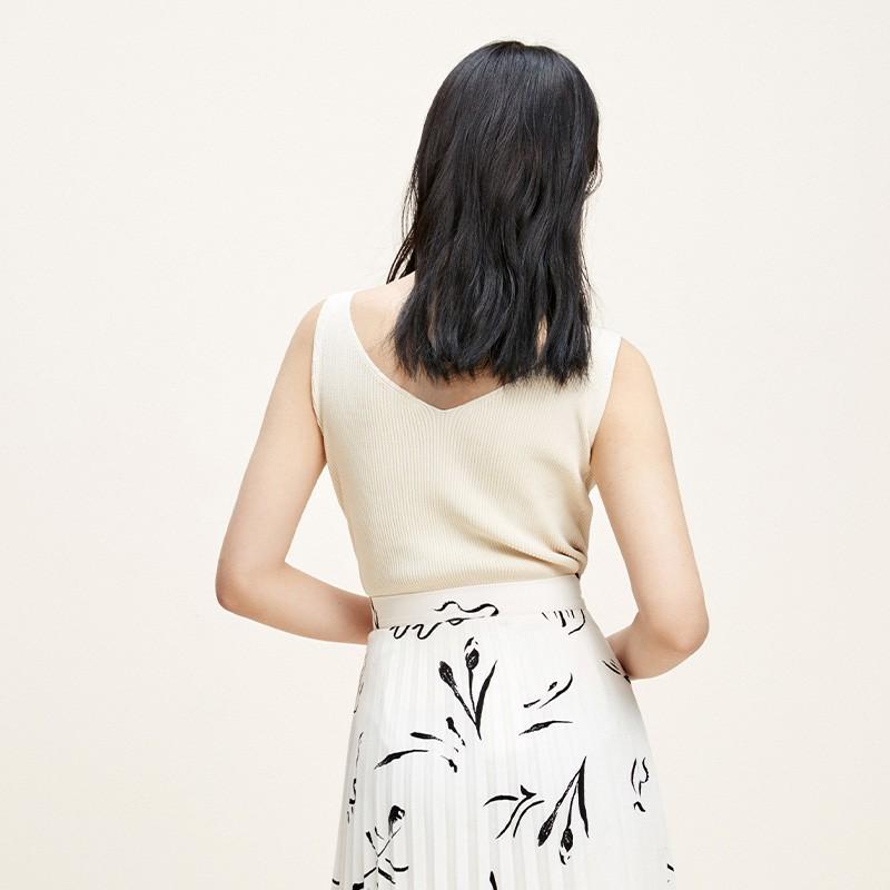 金苑修身显瘦无袖针织背心百搭V领打底衫2020春季新款女装H20110216