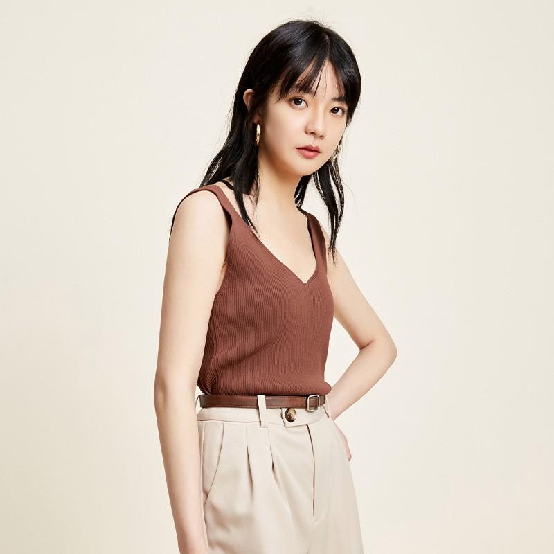 金苑修身显瘦无袖针织背心百搭V领打底衫2020春季新款女装H20110212