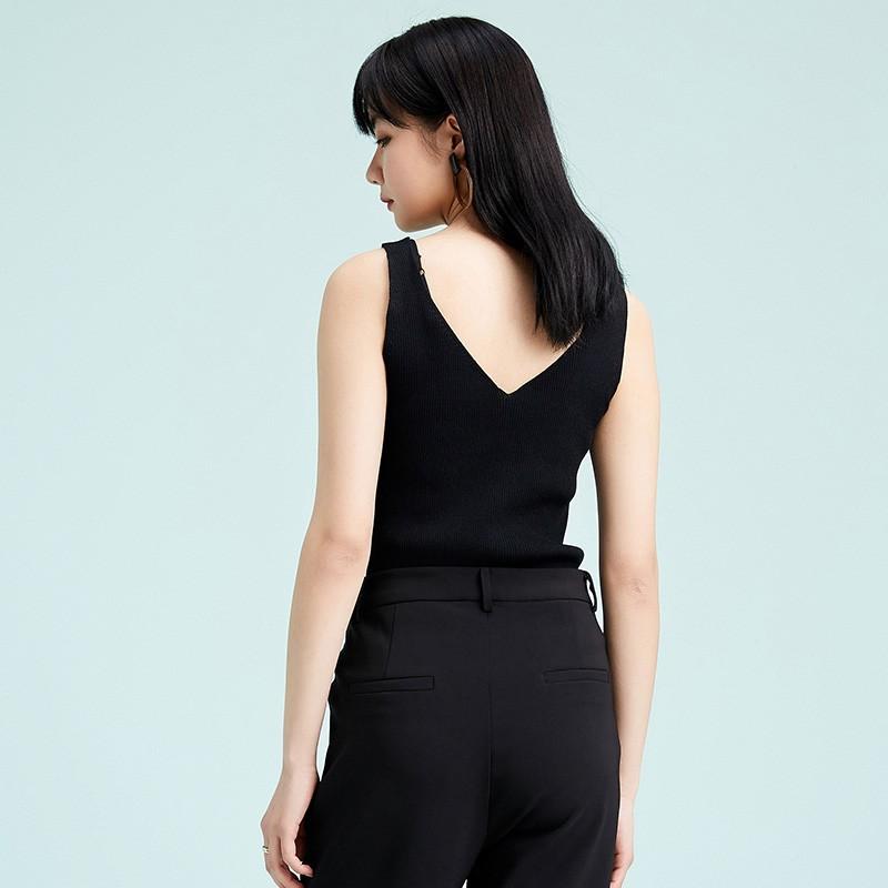 金苑修身显瘦无袖针织背心百搭V领打底衫2020春季新款女装H2011024