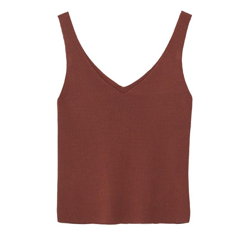 金苑修身显瘦无袖针织背心百搭V领打底衫2020春季新款女装H20110211