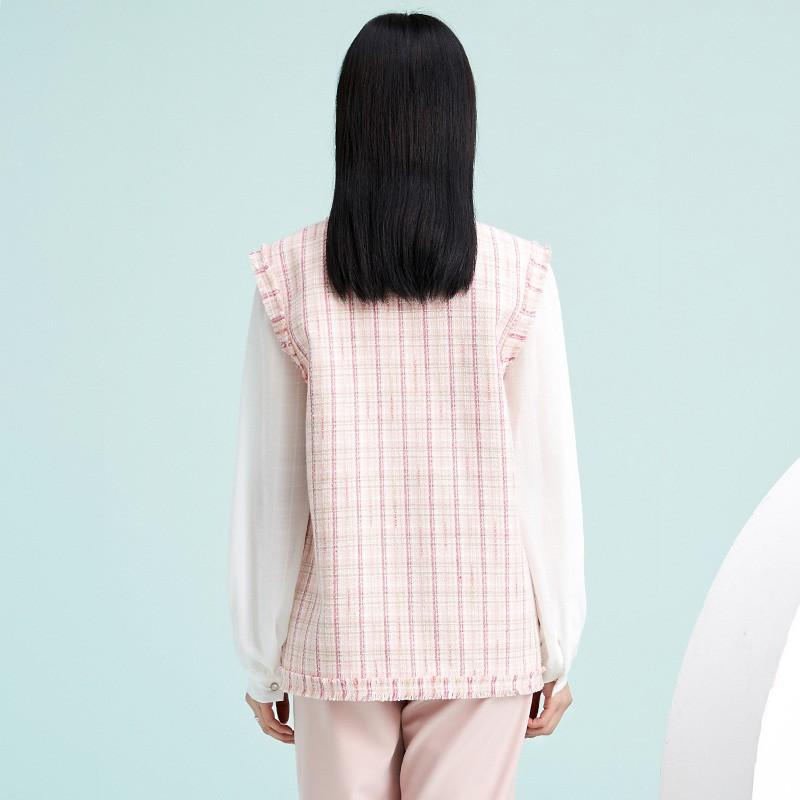 金苑外套女2020春新款韩版宽松格子小香风女士短外套马甲I2011023