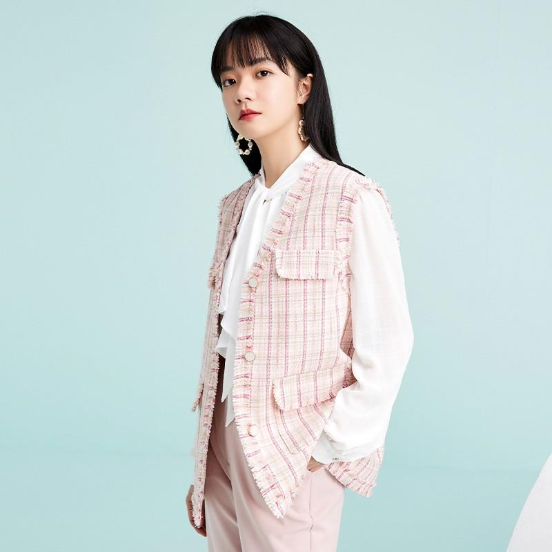 金苑外套女2020春新款韩版宽松格子小香风女士短外套马甲I2011026