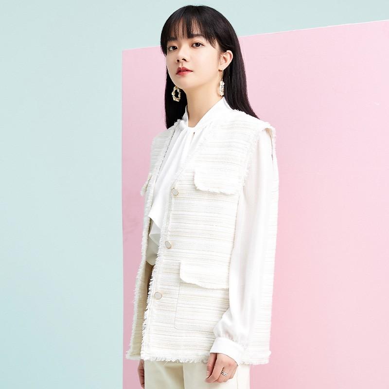 金苑外套女2020春新款韩版宽松格子小香风女士短外套马甲I2011028