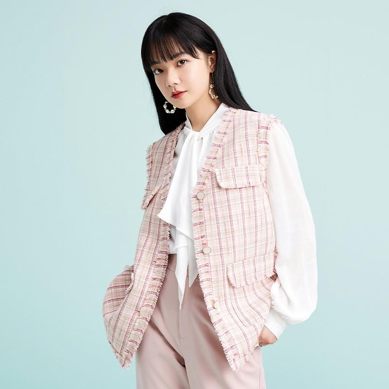 金苑外套女2020春新款韩版宽松格子小香风女士短外套马甲I2011024