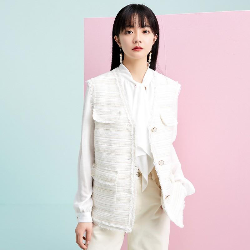 金苑外套女2020春新款韩版宽松格子小香风女士短外套马甲I20110212