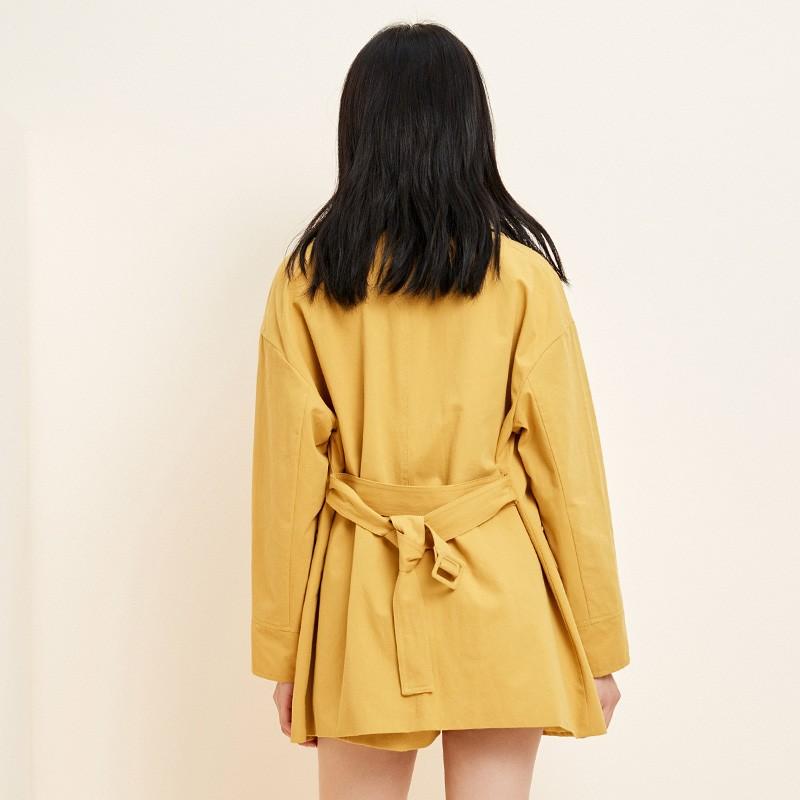 金苑流行风衣女中长款小个子2020春新款韩版外套宽松上衣E2019014