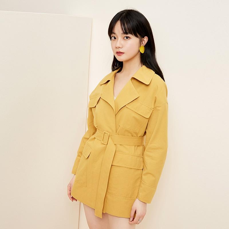 金苑流行风衣女中长款小个子2020春新款韩版外套宽松上衣E2019013