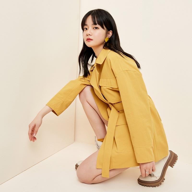 金苑流行风衣女中长款小个子2020春新款韩版外套宽松上衣E2019016