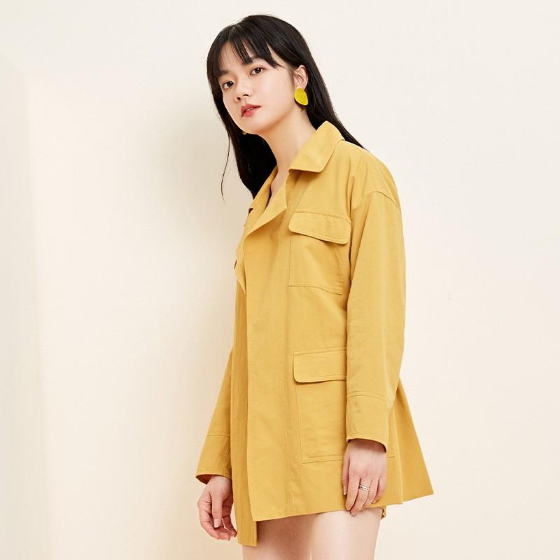 金苑流行风衣女中长款小个子2020春新款韩版外套宽松上衣E2019012