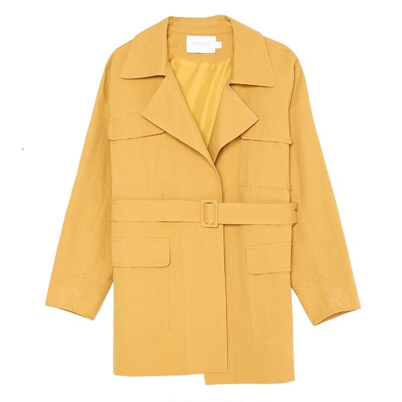 金苑流行风衣女中长款小个子2020春新款韩版外套宽松上衣E2019015