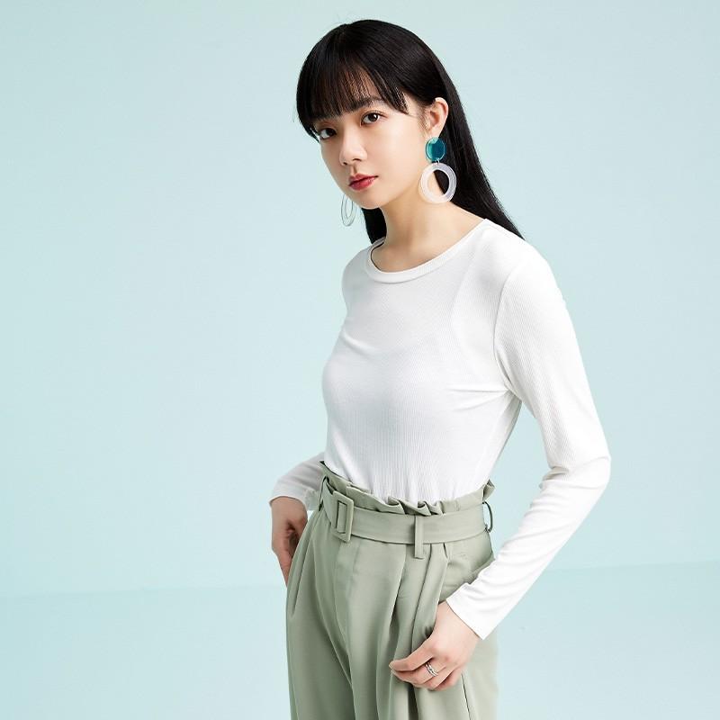 金苑2020春新款韩版圆领基础外穿上衣女款修身套头打底衫F2019013