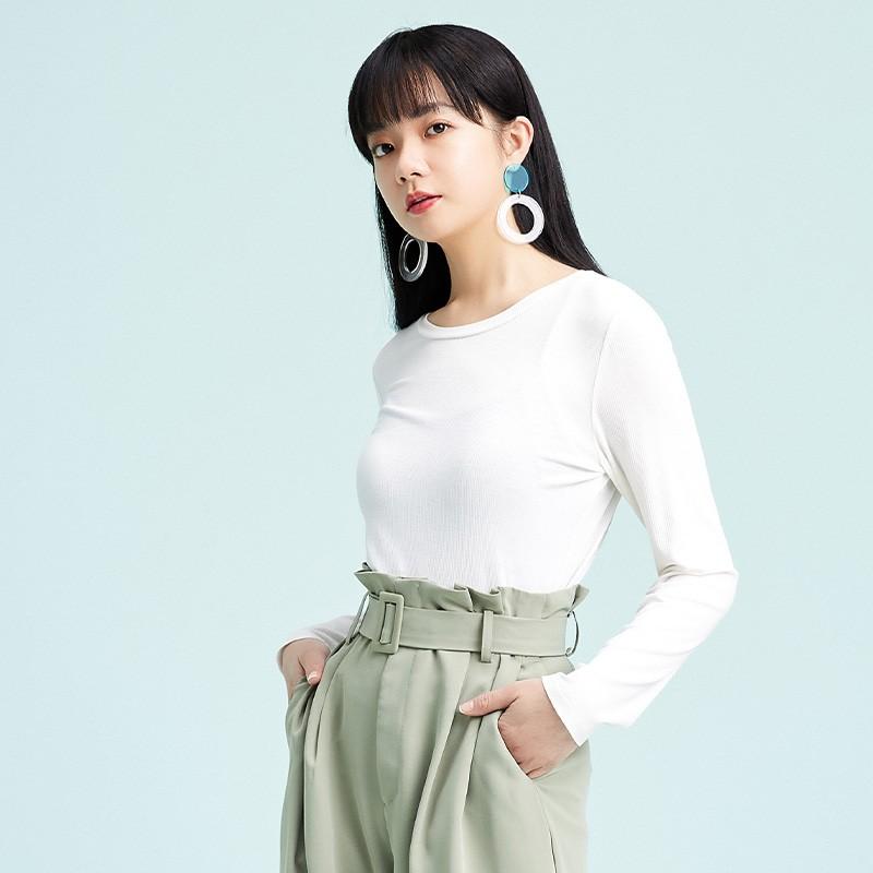 金苑2020春新款韩版圆领基础外穿上衣女款修身套头打底衫F2019012