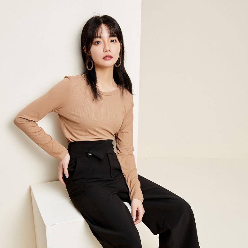 金苑2020春新款韩版圆领基础外穿上衣女款修身套头打底衫F20190118