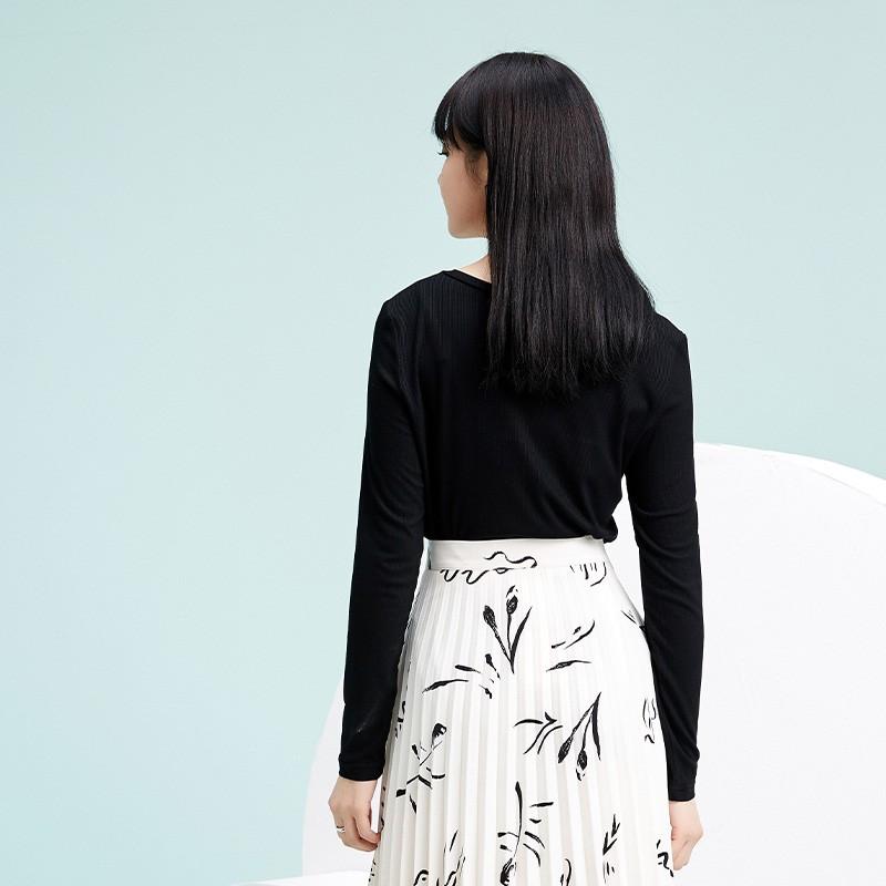 金苑2020春新款韩版圆领基础外穿上衣女款修身套头打底衫F20190110
