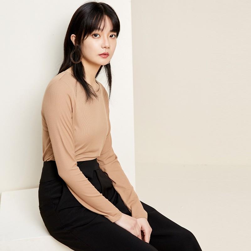 金苑2020春新款韩版圆领基础外穿上衣女款修身套头打底衫F20190116