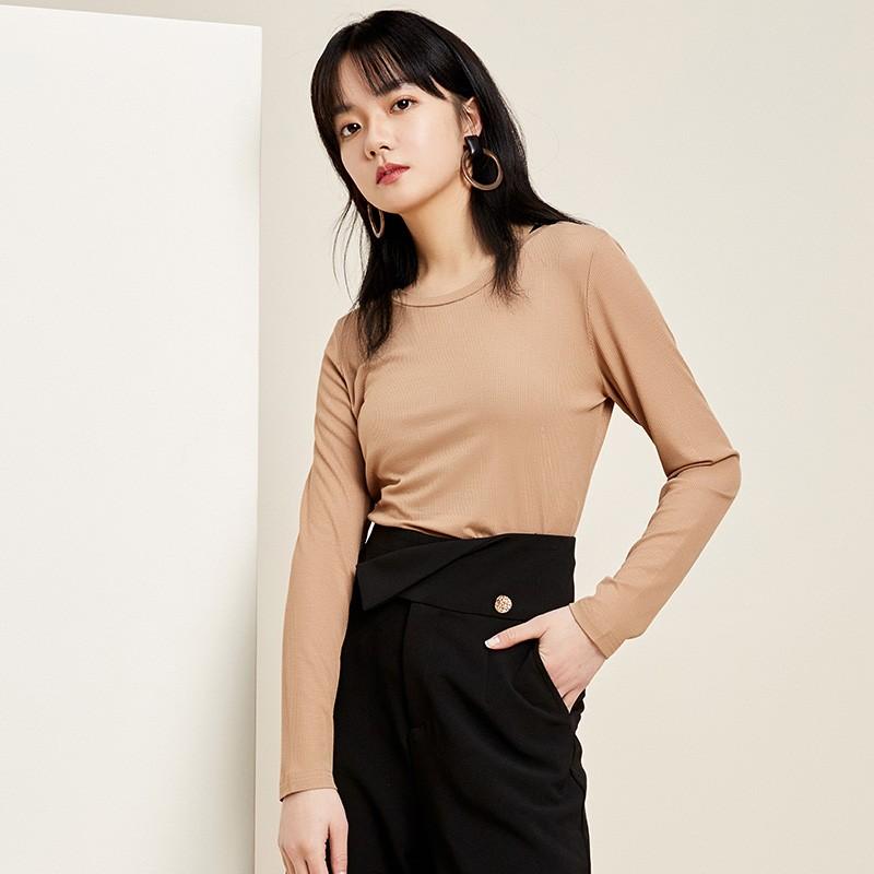金苑2020春新款韩版圆领基础外穿上衣女款修身套头打底衫F20190115