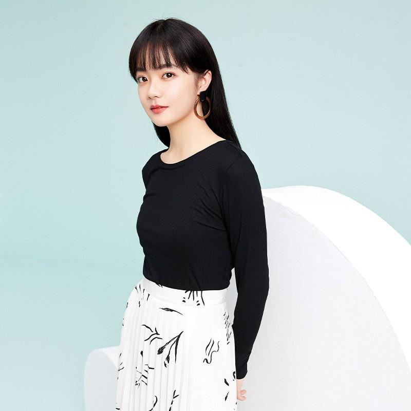 金苑2020春新款韩版圆领基础外穿上衣女款修身套头打底衫F20190112
