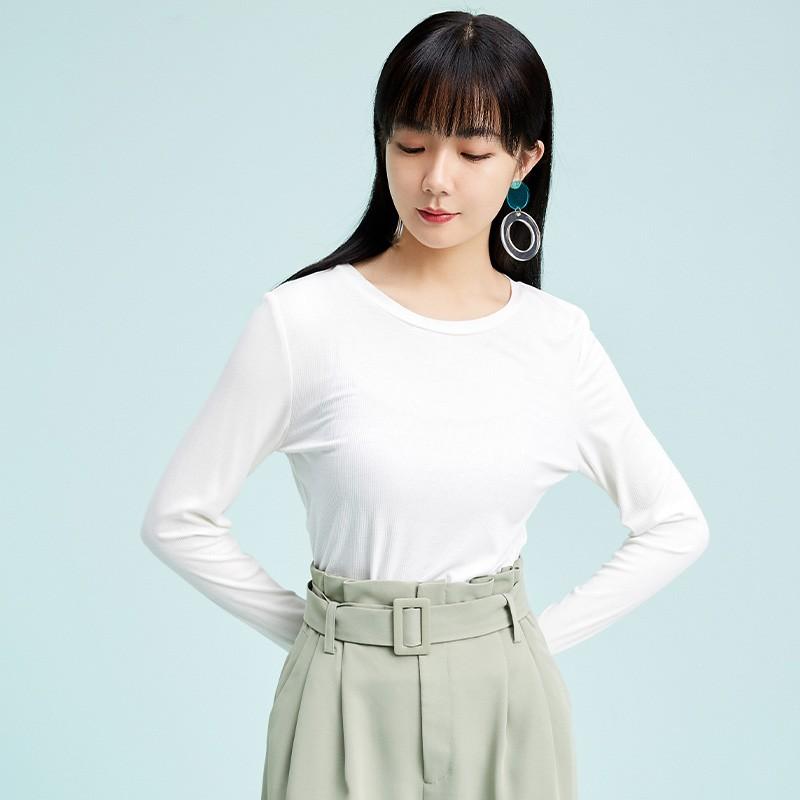 金苑2020春新款韩版圆领基础外穿上衣女款修身套头打底衫F2019016