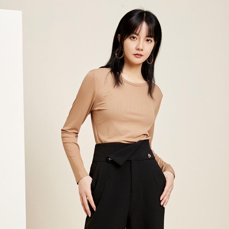 金苑2020春新款韩版圆领基础外穿上衣女款修身套头打底衫F20190114