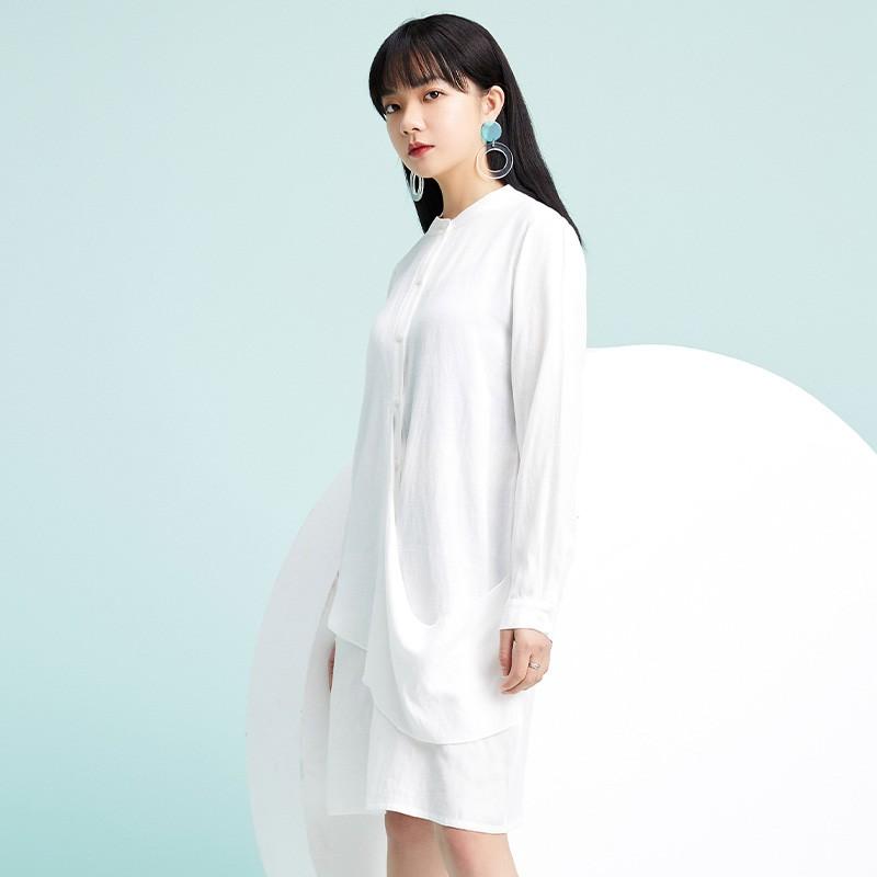 金苑2020春季新款设计师小心机百搭韩版时尚裙纯色连衣裙G2019012
