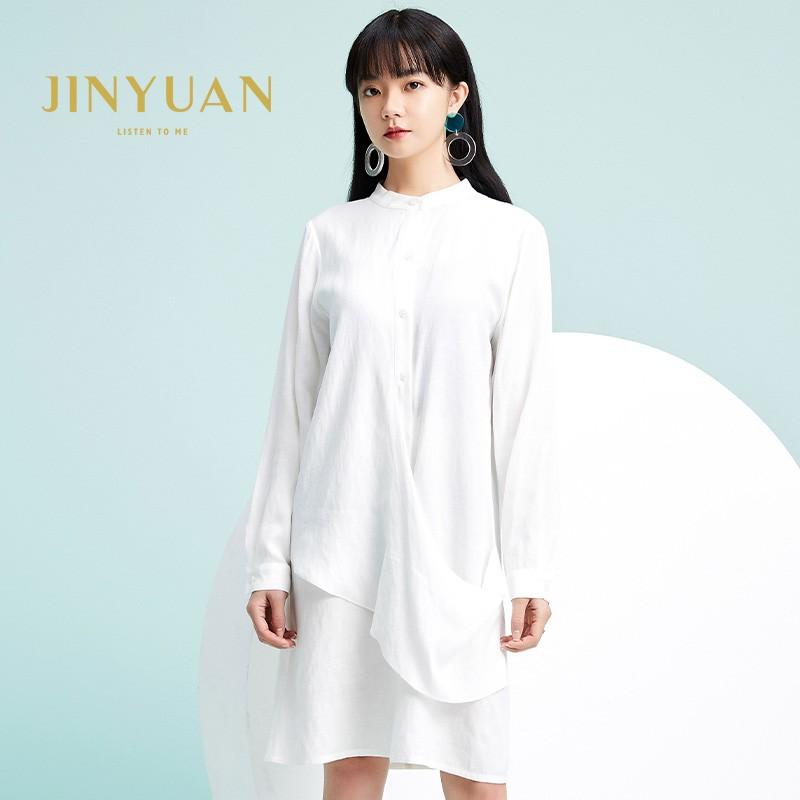 金苑2020春季新款设计师小心机百搭韩版时尚裙纯色连衣裙G2019011