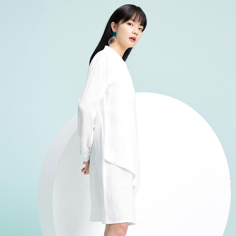 金苑2020春季新款设计师小心机百搭韩版时尚裙纯色连衣裙G2019013