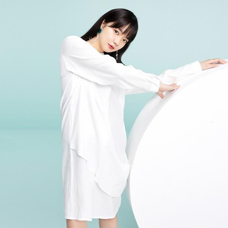 金苑2020春季新款设计师小心机百搭韩版时尚裙纯色连衣裙G2019016