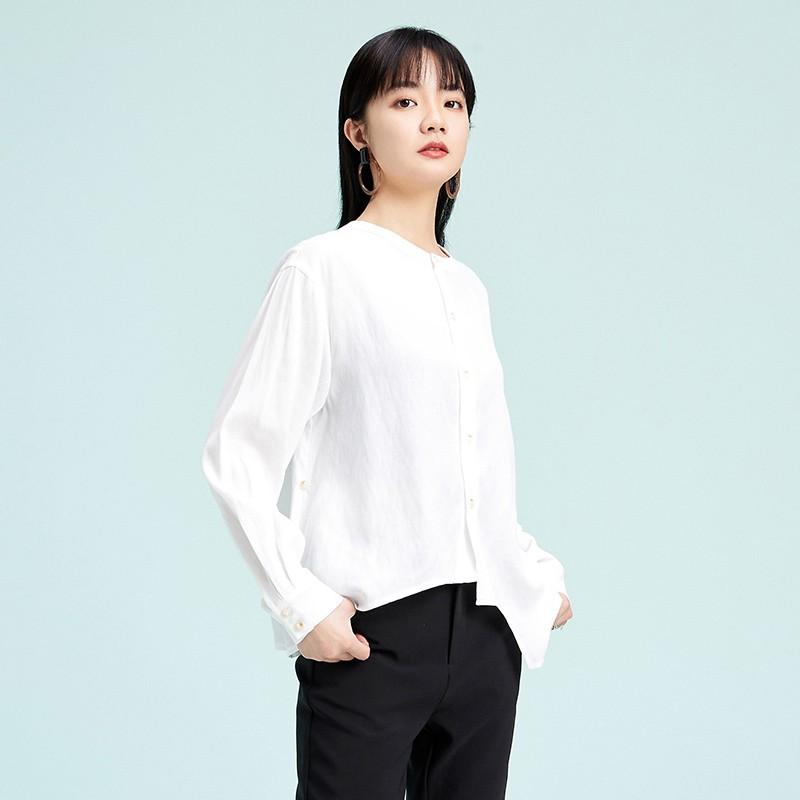 金苑上衣女2020春新款长袖打底衫小衫文艺清新衬衫上衣女A2019063