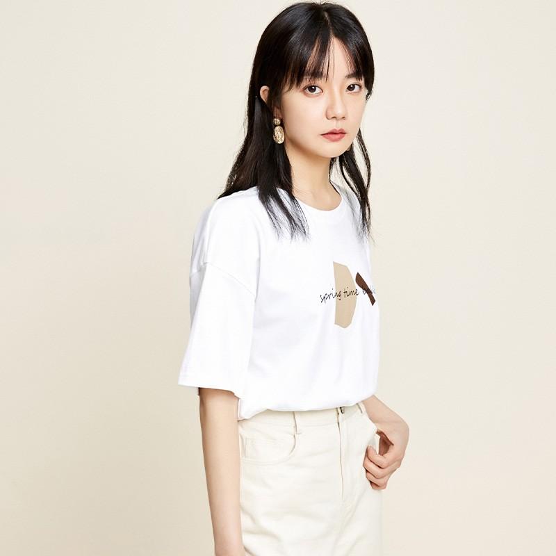 金苑2020春夏新款纯棉短袖T恤女宽松韩版圆领女上衣打底衫F2011075